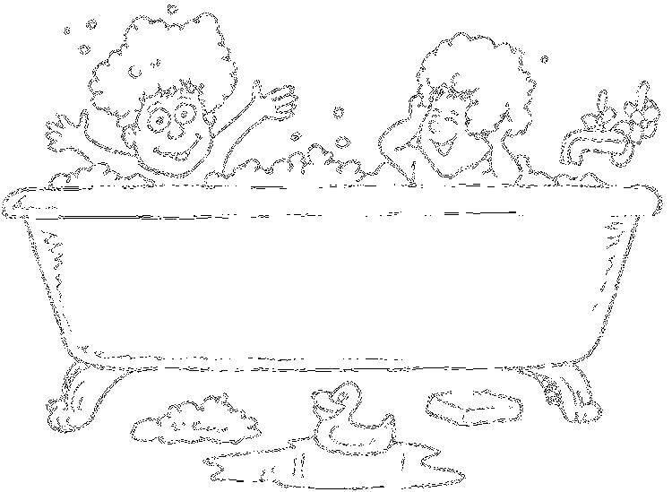 Раскраска Дети купаются в ванной Скачать дети, купание, ванна.  Распечатать ,дети,
