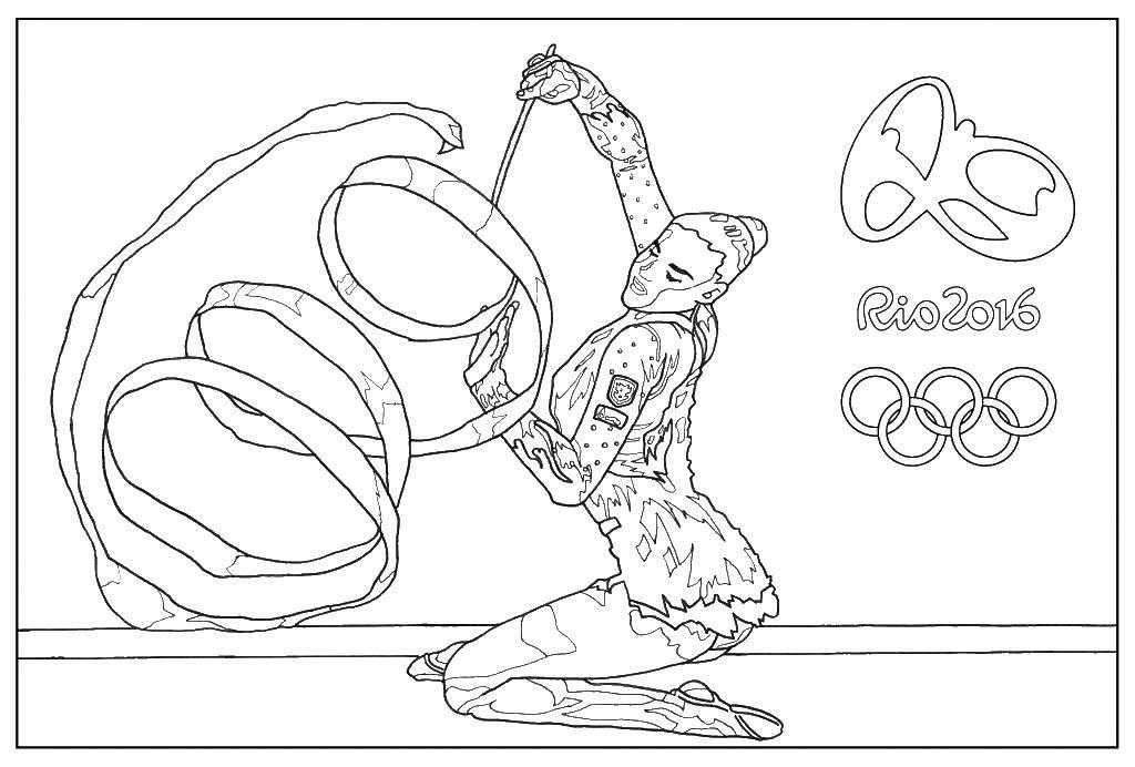 Раскраска Художественная гимнастика с лентой Скачать Художественная гимнастика, лента, Рио 2016.  Распечатать ,Рио 2016,