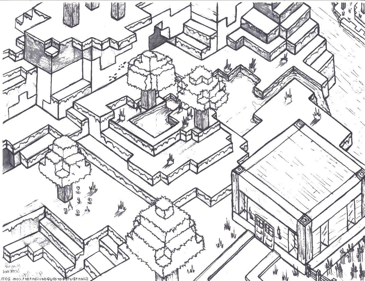 Раскраска Майнкрафт город Скачать майнкрафт, город.  Распечатать ,майнкрафт,