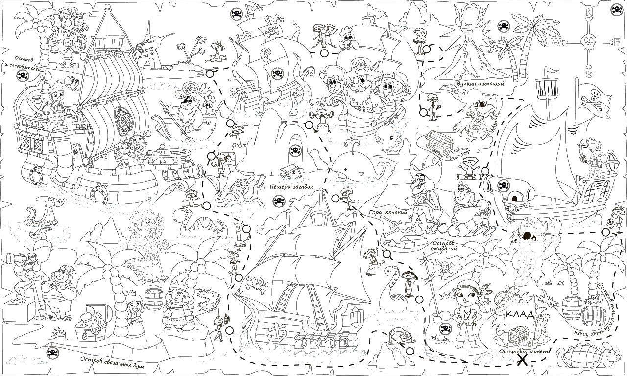 Раскраска Пиратская карта Скачать карта, пираты, настольная игра.  Распечатать ,остров сокровищ,