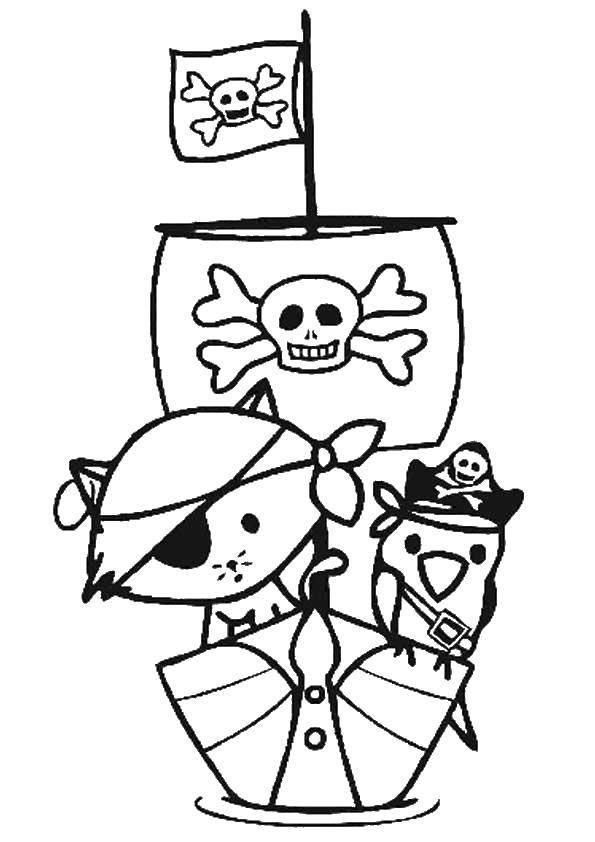 Раскраска Пиратский корабль Скачать пираты, корабль.  Распечатать ,остров сокровищ,