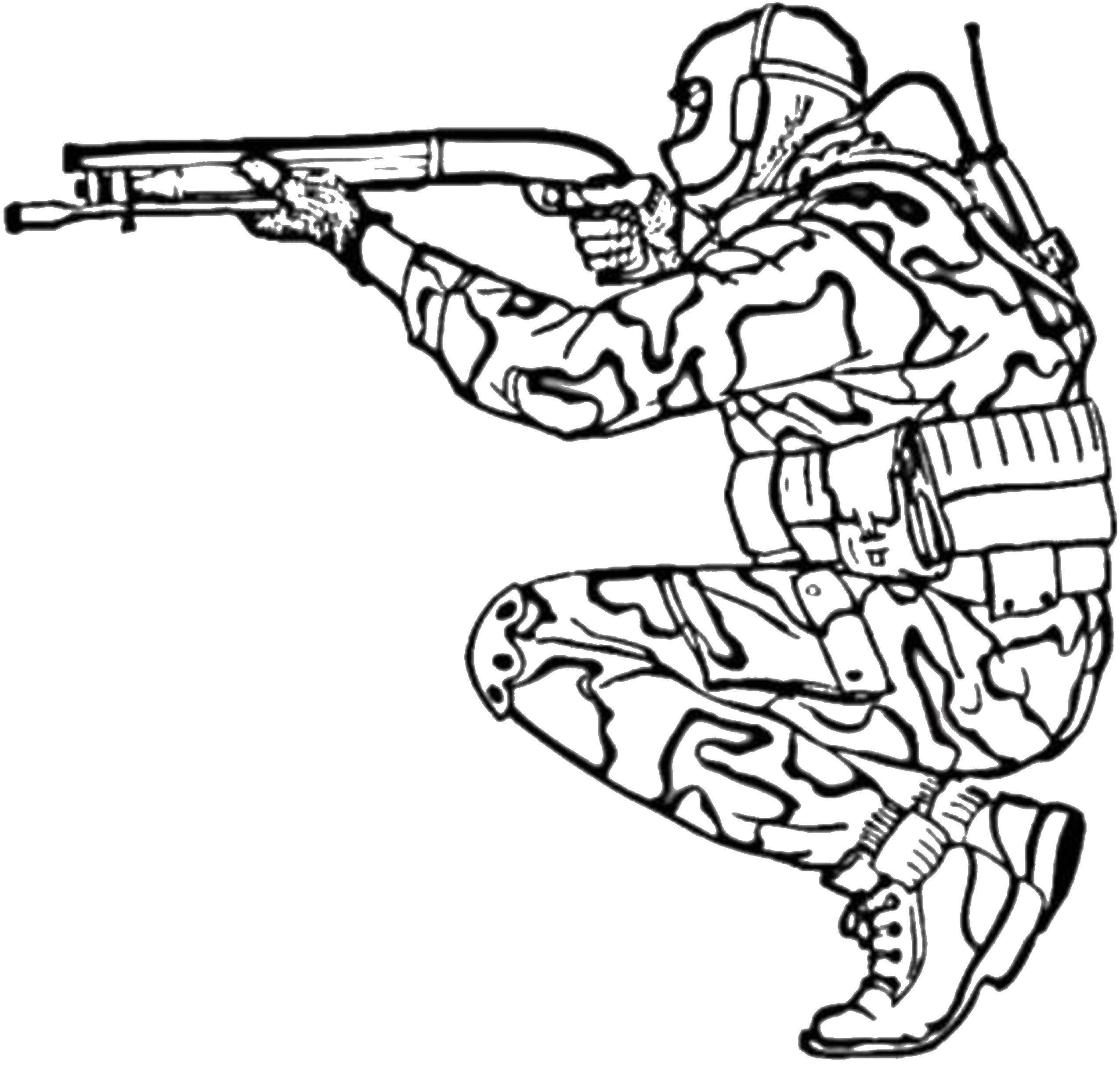 Раскраска Солдат с ружьем. Скачать солдат, ружье.  Распечатать ,военные раскраски,