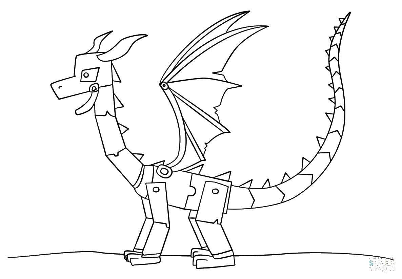 Раскраска Железный дракон Скачать майнкрафт, дракон.  Распечатать ,майнкрафт,
