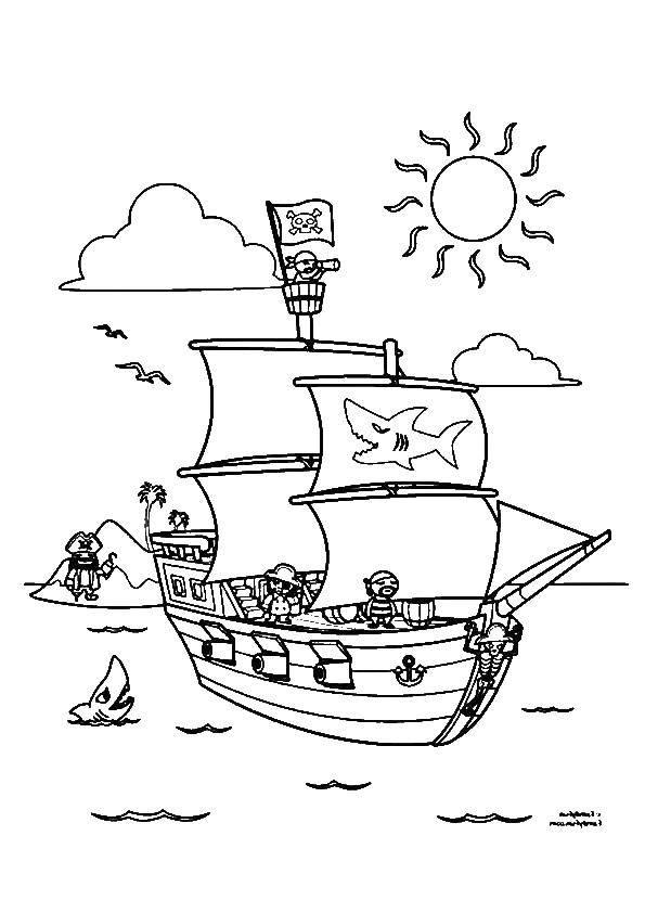 Название: Раскраска Акула у пиратского корабля. Категория: остров сокровищ. Теги: остров, пираты, корабль.