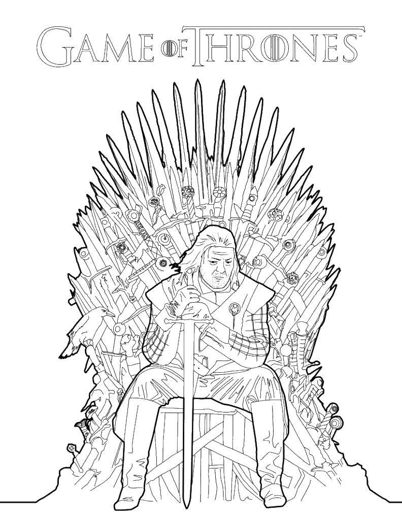 Раскраска Игра престолов Скачать ,Игра престолов, строн, Эддард Старк,.  Распечатать
