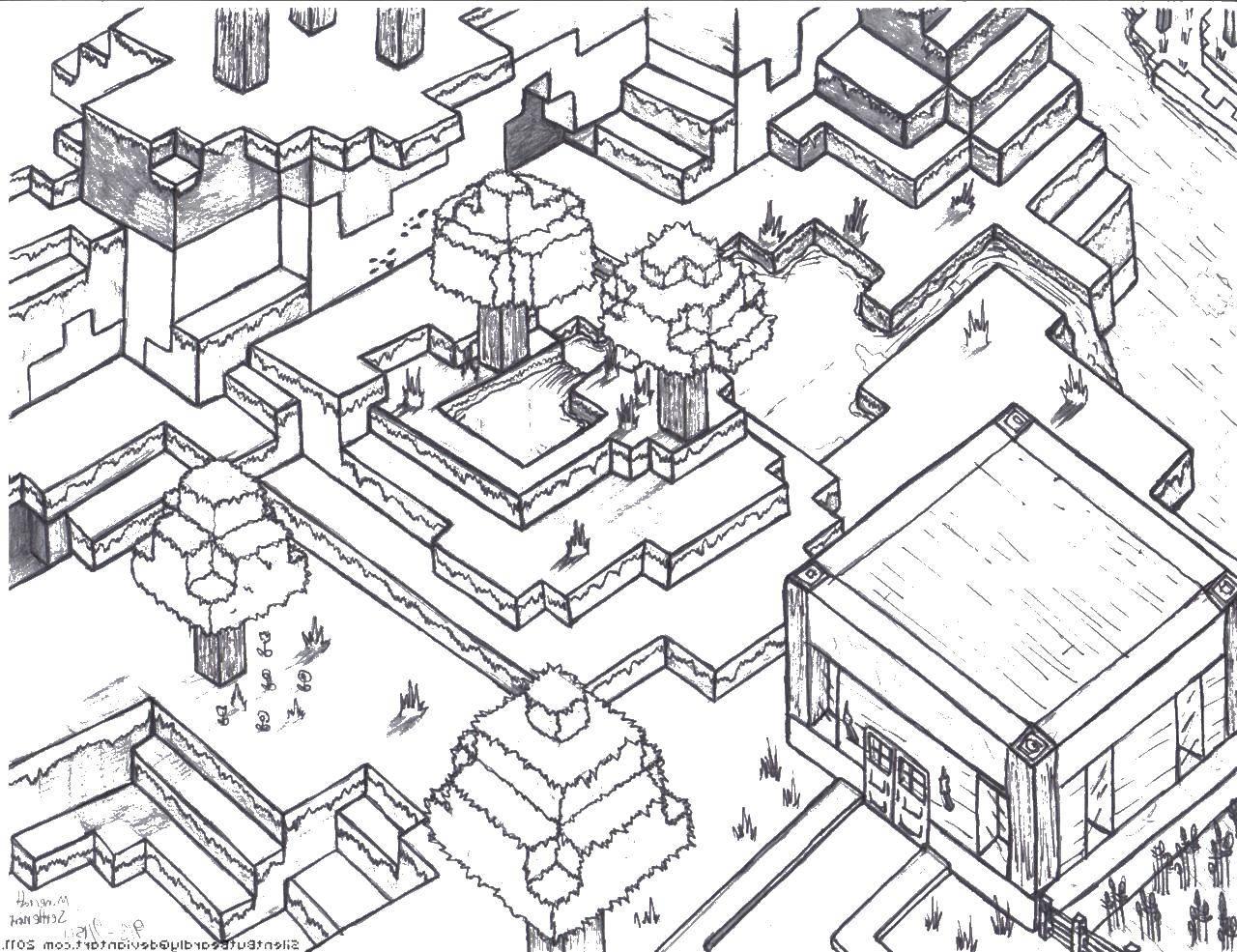 Название: Раскраска Майнкрафт город. Категория: майнкрафт. Теги: майнкрафт, город.