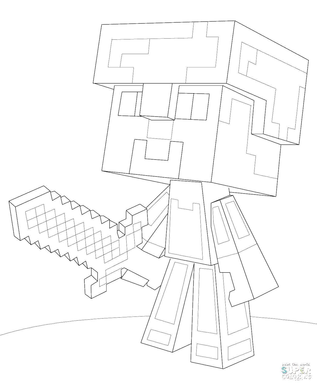 Раскраска Майнкрафт человек с мечом Скачать майнкрафт, люди.  Распечатать ,майнкрафт,