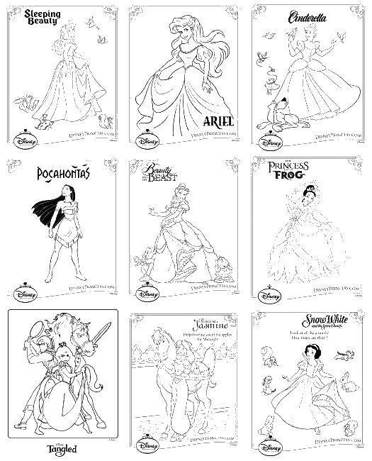 Раскраска Принцессы диснея Скачать принцессы, диснея.  Распечатать ,Принцессы,