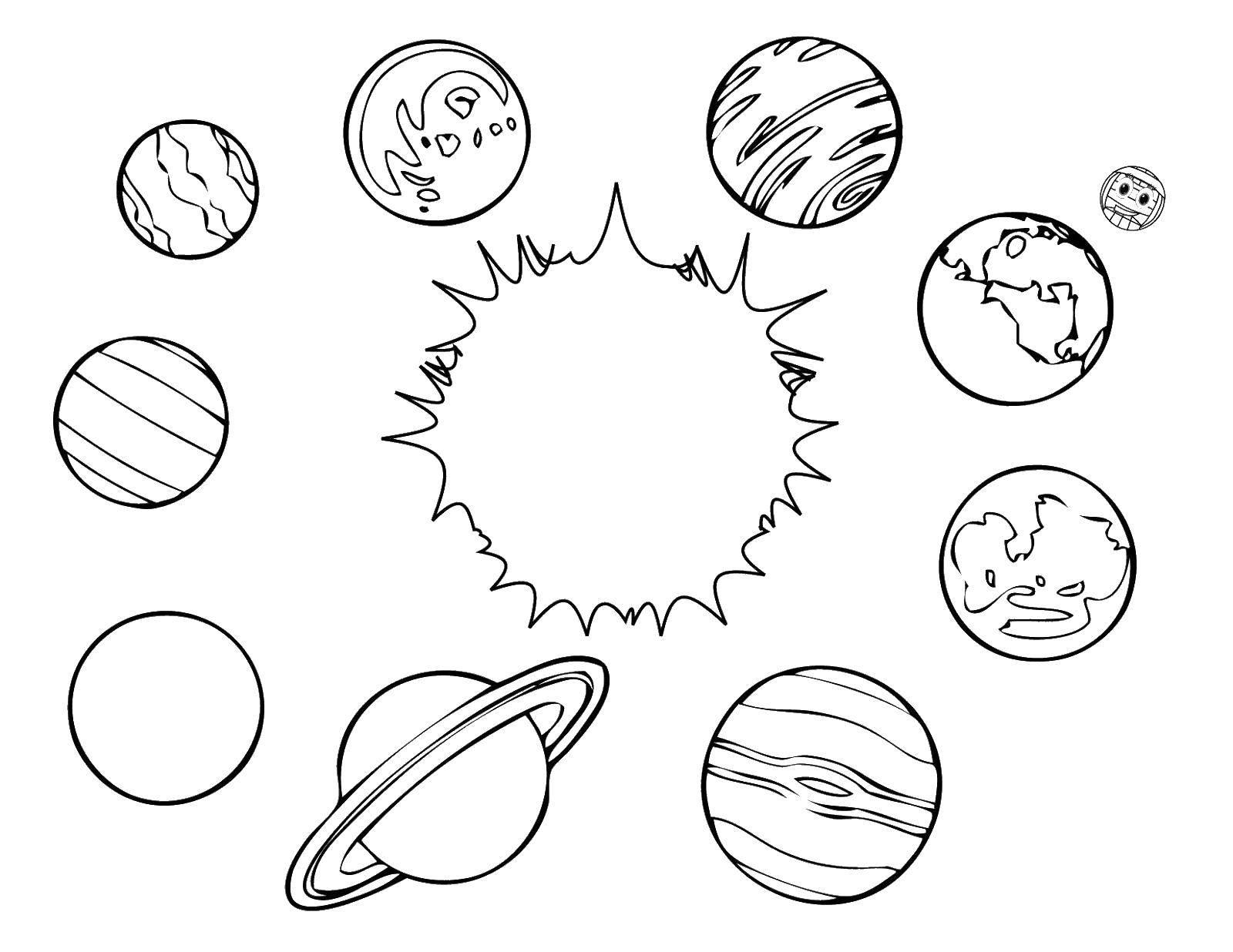 Раскраска Солнце и планеты Скачать космос, планеты.  Распечатать ,космос,