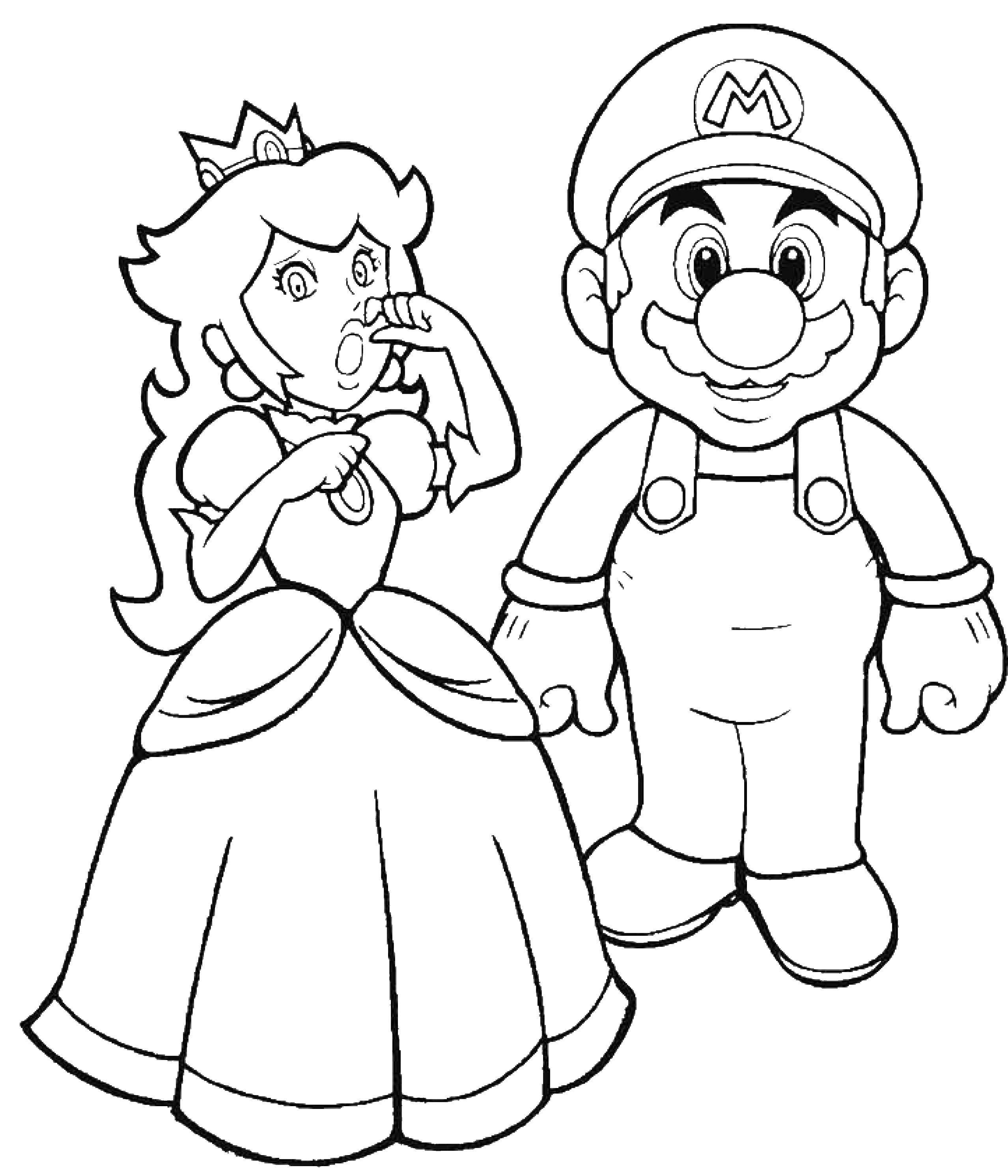 Раскраска Супермарио и принцесса Скачать супермарио, принцесса.  Распечатать ,Персонаж из игры,