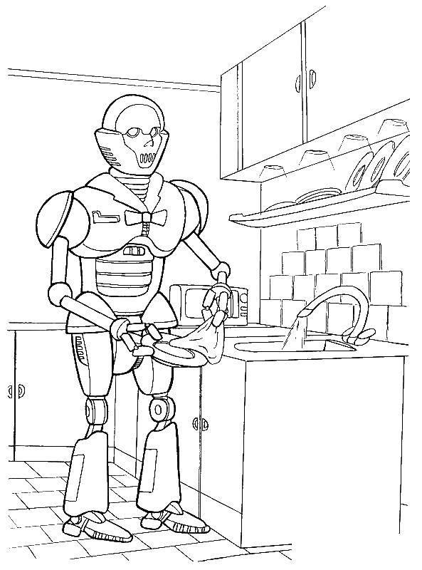 Раскраска Киборг моет посуду Скачать киборг, робот.  Распечатать ,киборг,