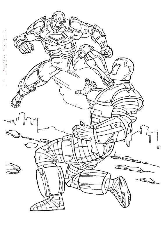Раскраска Киборги в бою Скачать киборг, робот.  Распечатать ,киборг,