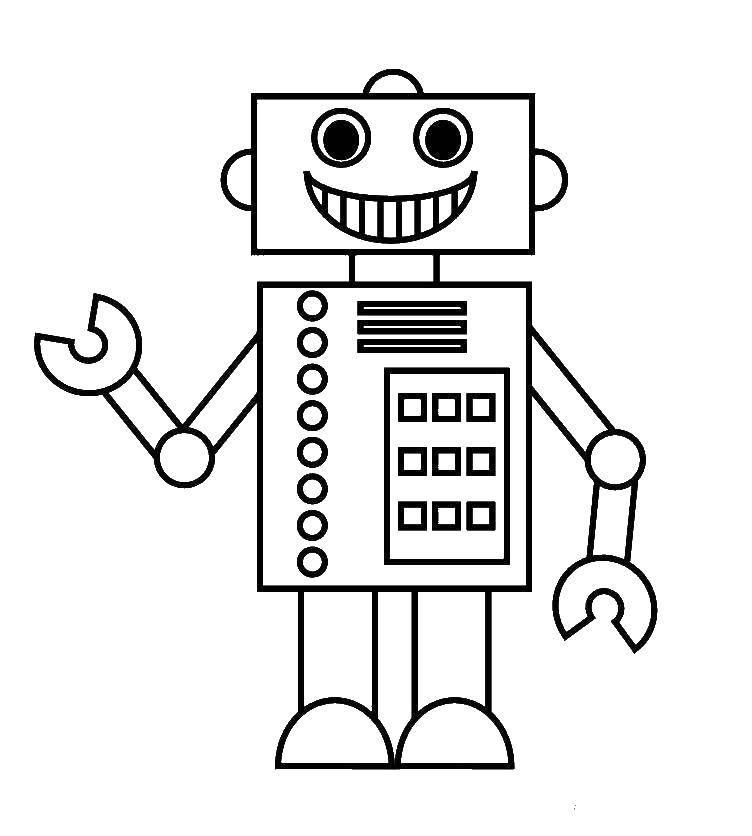 Раскраска Робот Скачать робот.  Распечатать ,киборг,