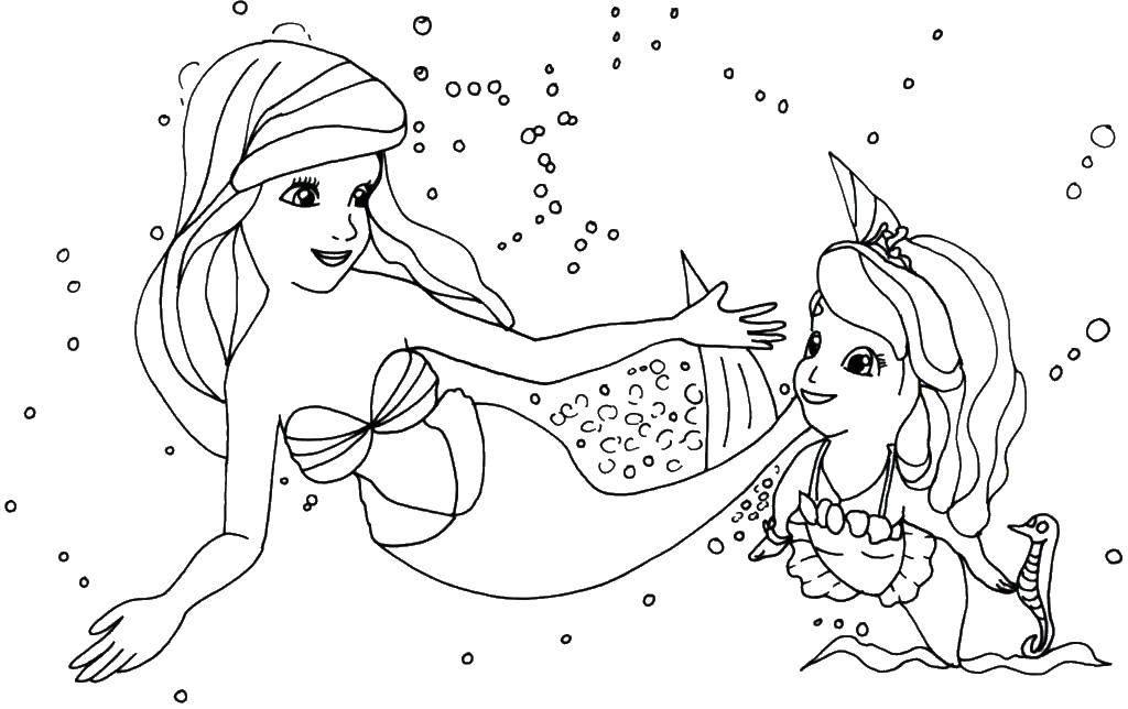 Раскраска Русалочка ариэль и принцесса софия Скачать Ариэль, русалка, софия.  Распечатать ,русалочка ариэль,