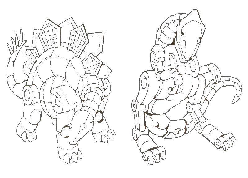 Раскраска Динороботы Скачать динозавр, роботы.  Распечатать ,киборг,