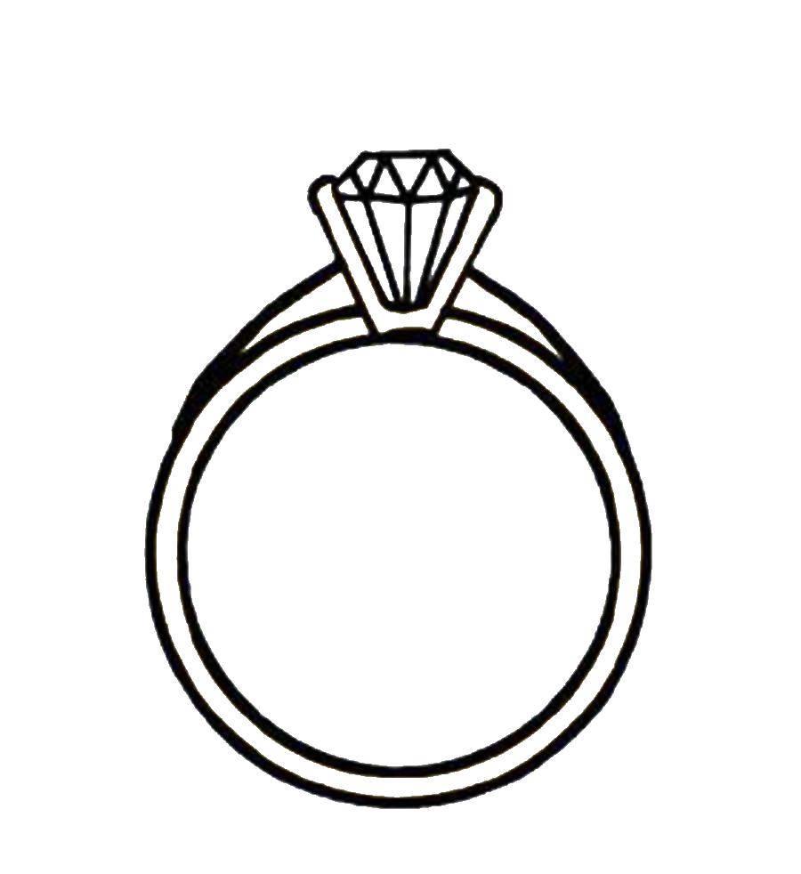 Раскраска Колечко с бриллиантом. Скачать украшения, кольца.  Распечатать ,кольцо,