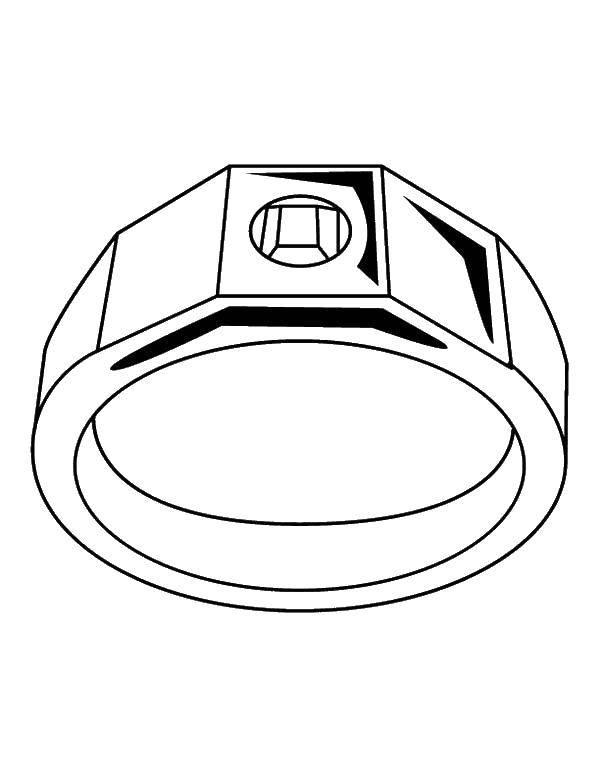 Раскраска Колечко. Скачать украшения, кольца.  Распечатать ,кольцо,