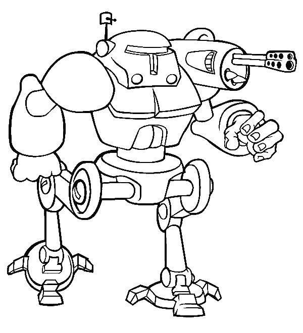 Раскраска Робот с пулеметами Скачать киборг, робот.  Распечатать ,киборг,