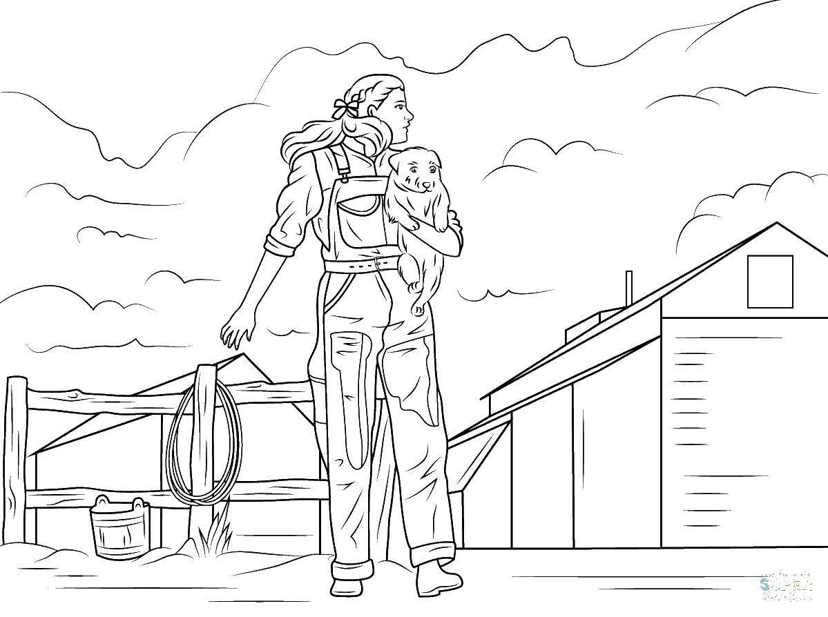 Раскраска Девушка на ферме с щенком Скачать ,ферма, девушка, щенок,.  Распечатать