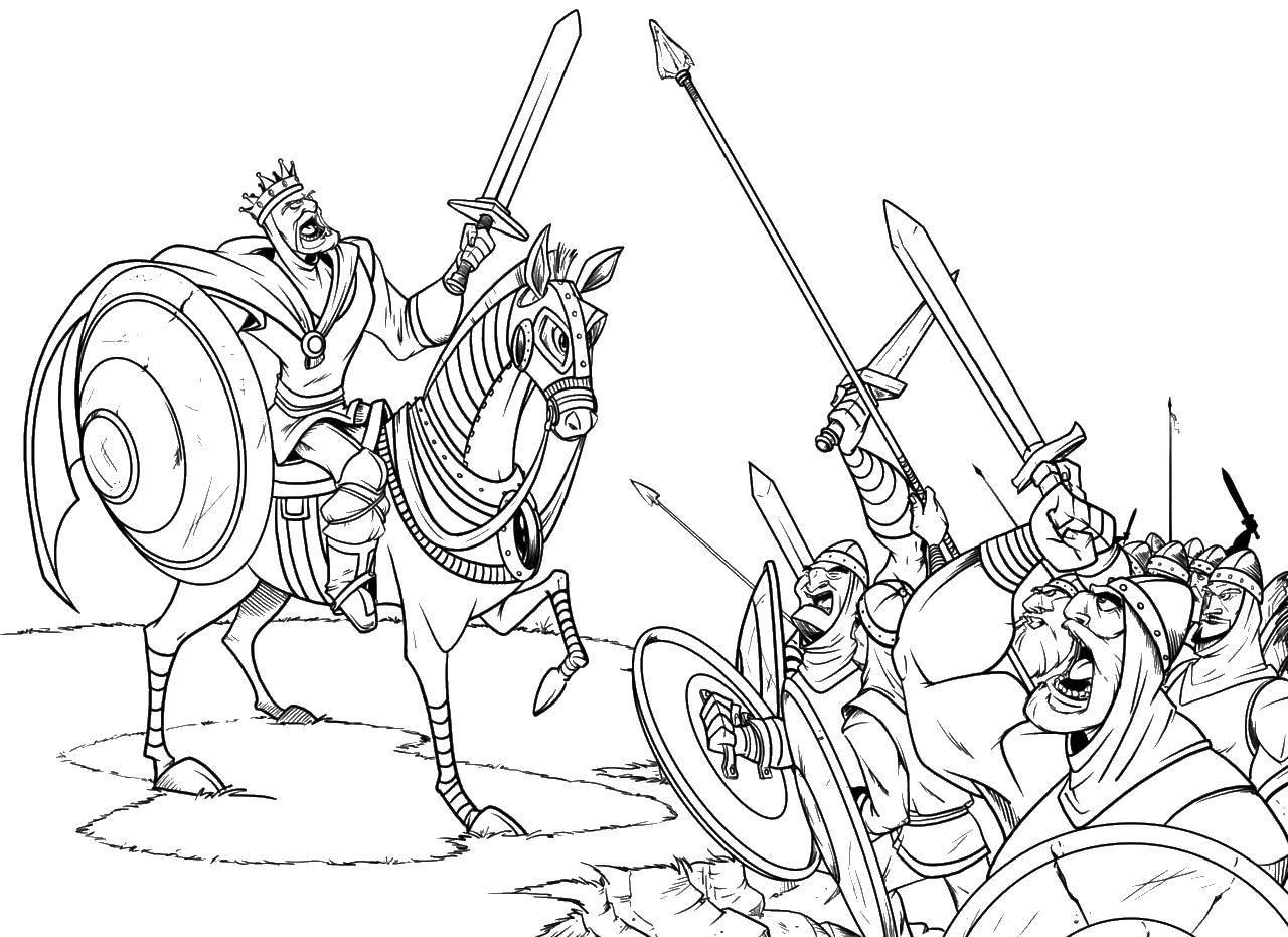 Раскраска Сражение рыцарей и короля. Скачать рыцари, король, битва.  Распечатать ,Рыцари,