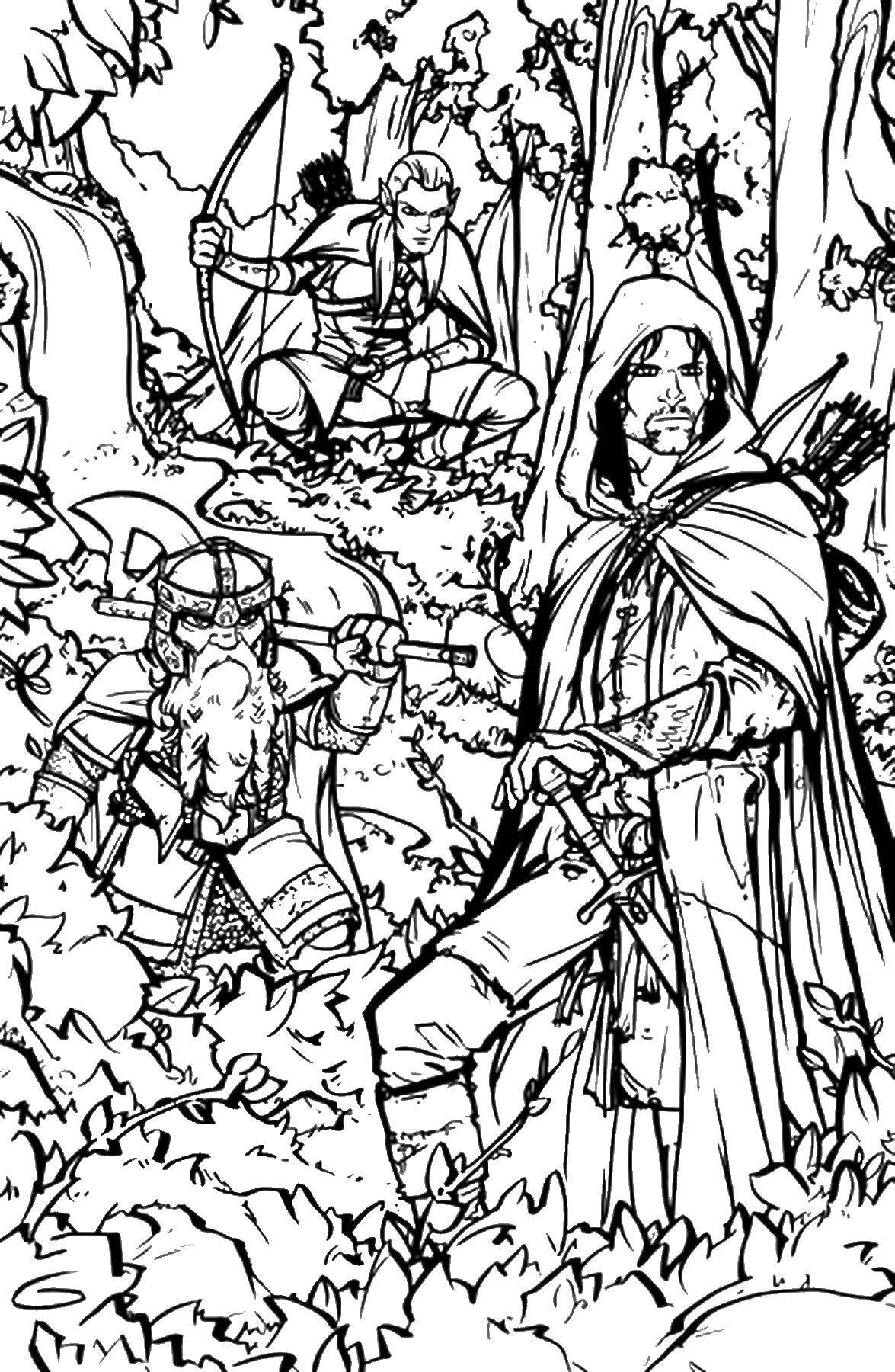 Раскраска Леголас и гимли в лесу Скачать властелин колец, Леголас, Гимли.  Распечатать ,властелин колец,