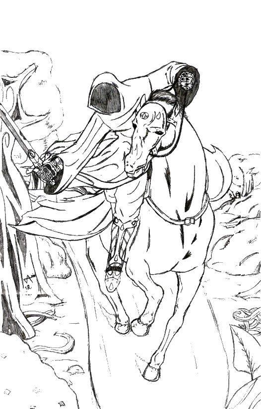 Раскраска Рыцарь на коне. Скачать рыцарь, конь, доспехи.  Распечатать ,Рыцари,