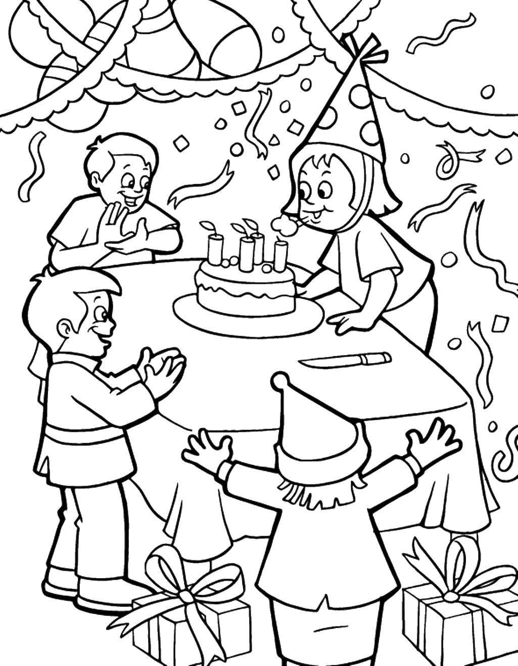 Раскраска день рождения Скачать .  Распечатать