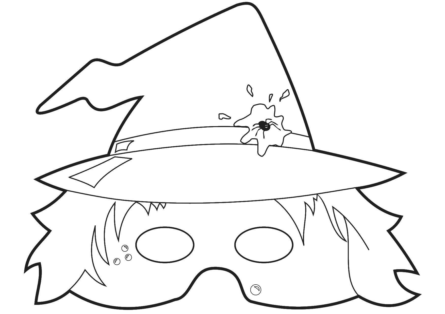 Раскраска Маска ведьмы. Скачать маска, ведьма.  Распечатать ,маска,