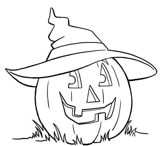 Раскраска Тыква в шляпе ведьмы. Скачать Хэллоуин, тыква, ведьма.  Распечатать ,ведьма,