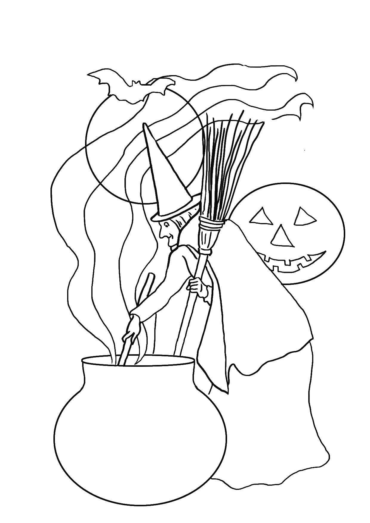 Раскраска Ведьма и котел. Скачать старуха, ведьма, метла, котел.  Распечатать ,ведьма,