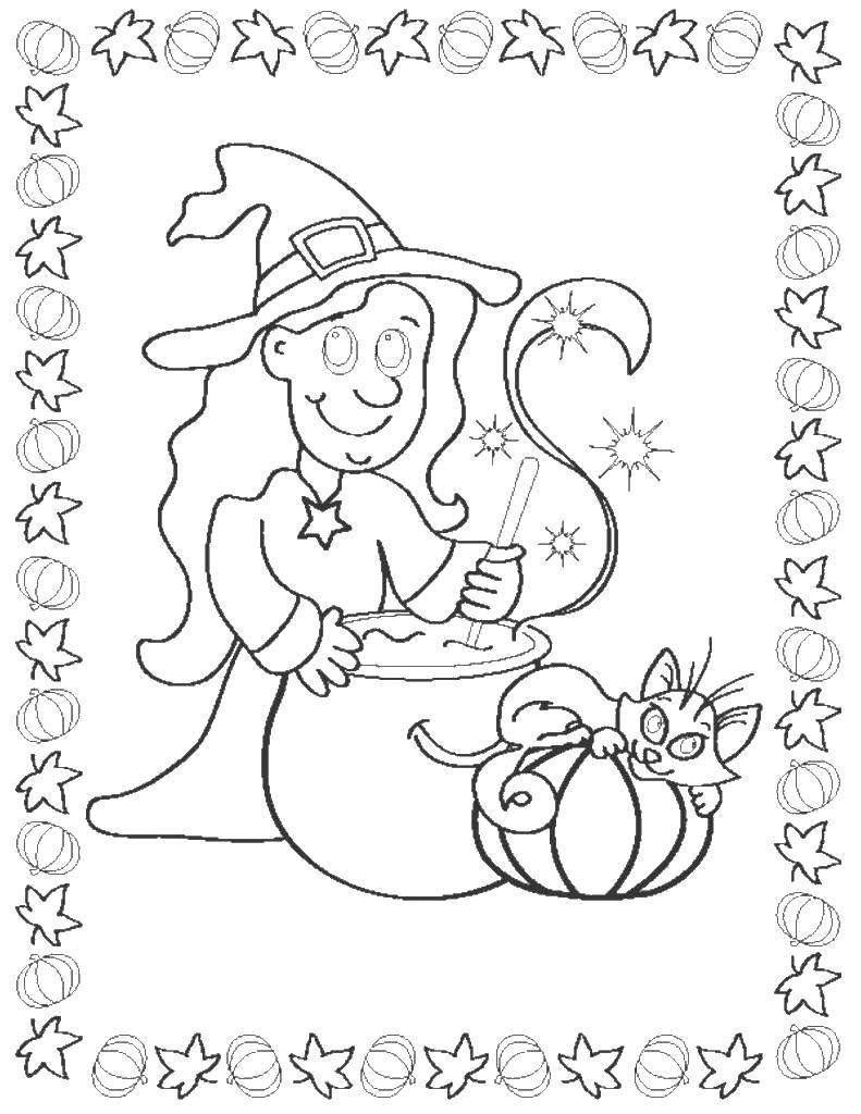 Раскраска ведьма Скачать .  Распечатать