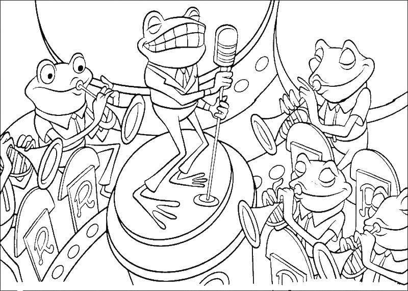 Раскраска Лягушки поют. Скачать в гости, к робинсонам.  Распечатать ,в гости к робинсонам,