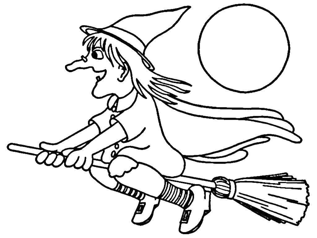 Раскраска Ведьма летит на метле. Скачать ведьма, хэллоуин.  Распечатать ,ведьма,
