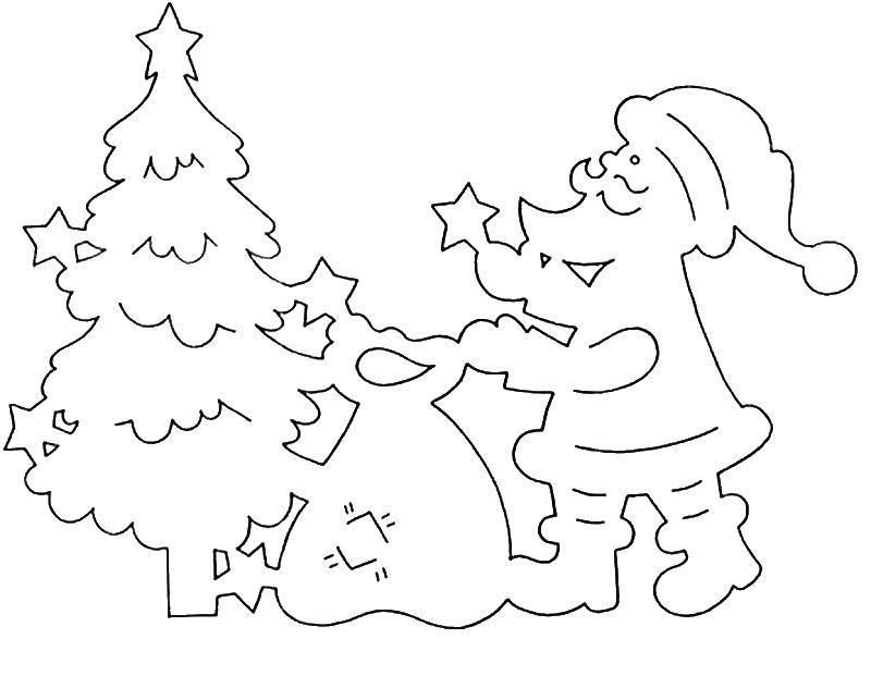 раскраски ёлку раскраска дед мороз наряжает елку снег