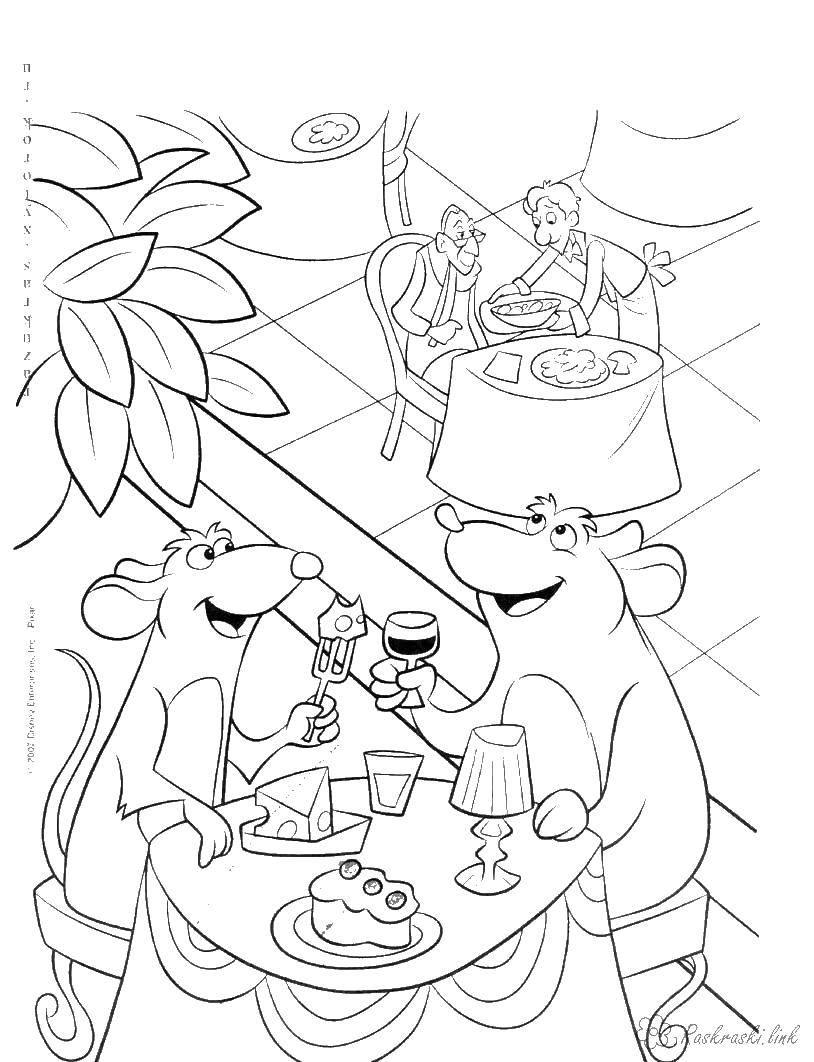 Раскраска Мультфильм рататуй Скачать мультфильмы, Рататуй, мышь, повар.  Распечатать ,рататуй,