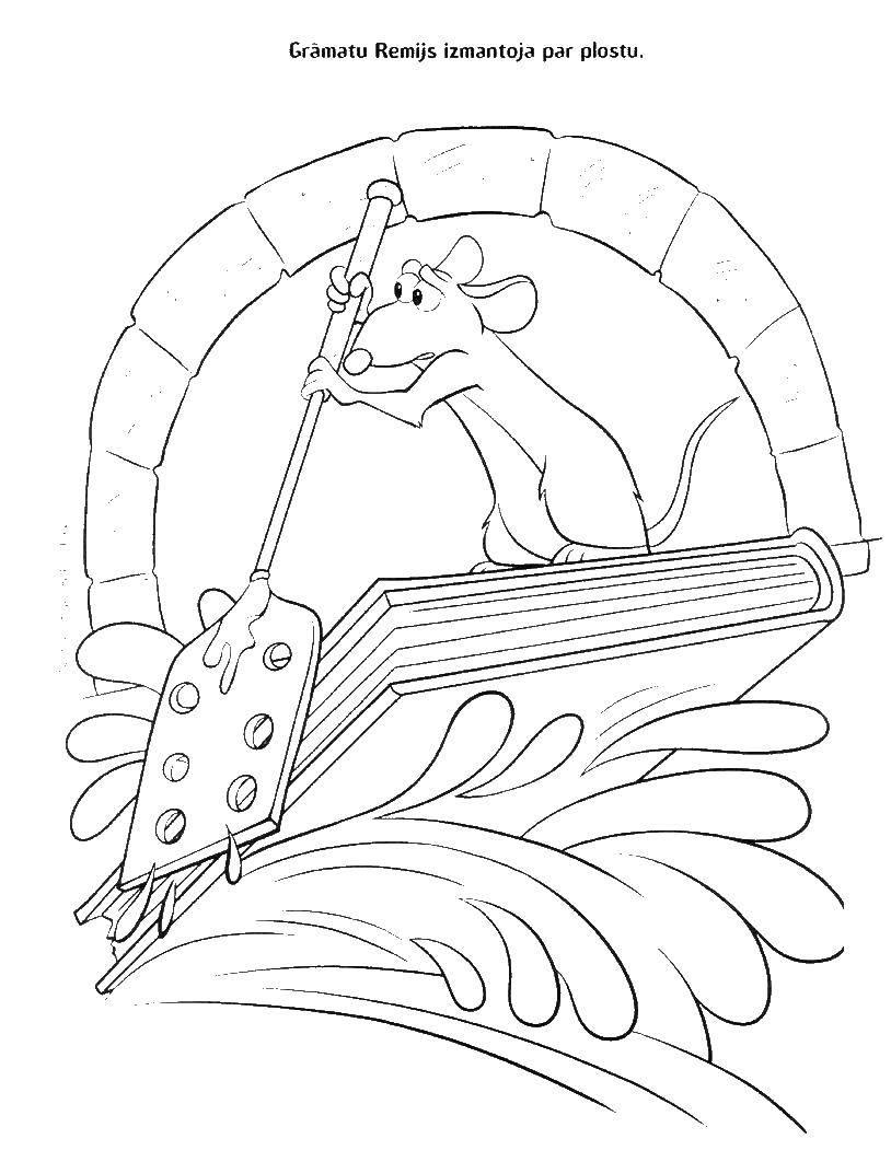 Раскраска Рататуй Скачать Рататуй, мультфильм, мышка, повар.  Распечатать ,рататуй,