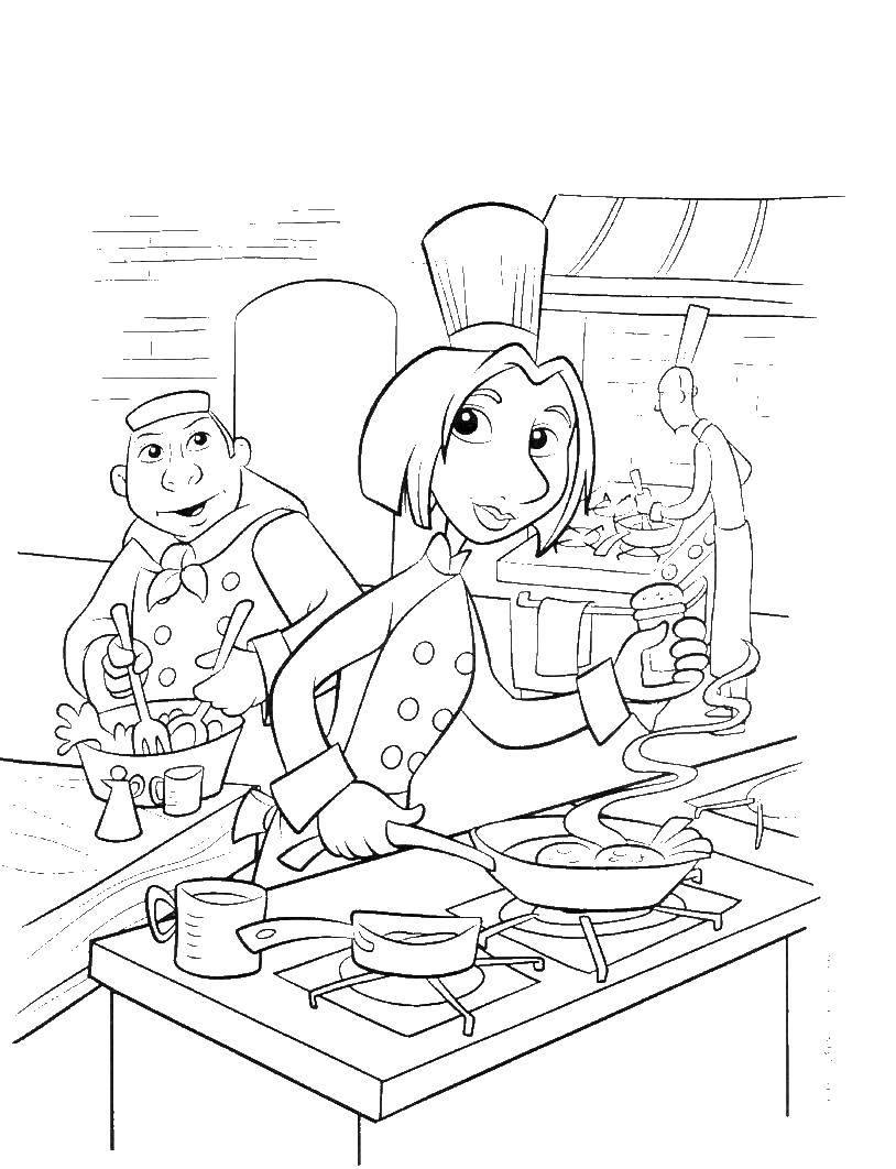 Раскраска Рататуй Скачать Рататуй, мультфильм, мышка, повара.  Распечатать ,рататуй,