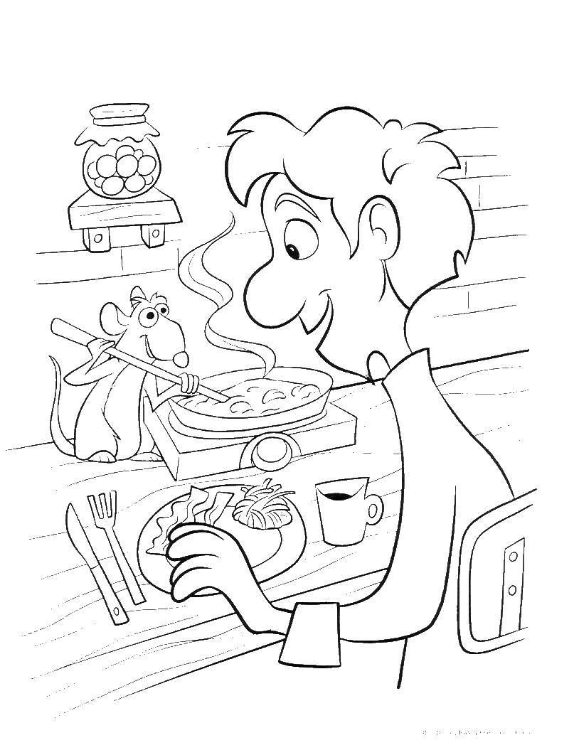 Раскраска Раттатуй Скачать Персонаж из мультфильма.  Распечатать ,рататуй,