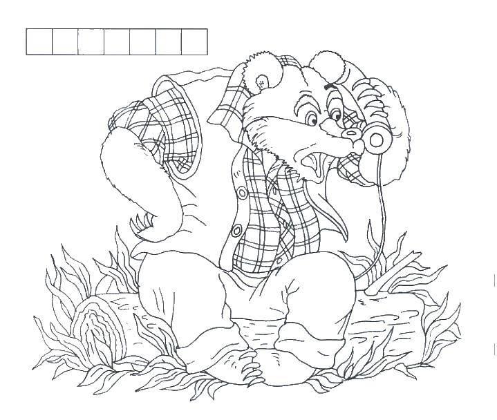 Раскраска Мишутка говорит по телефону Скачать мультфильмы, животные, мишутка, мишка.  Распечатать ,Животные,