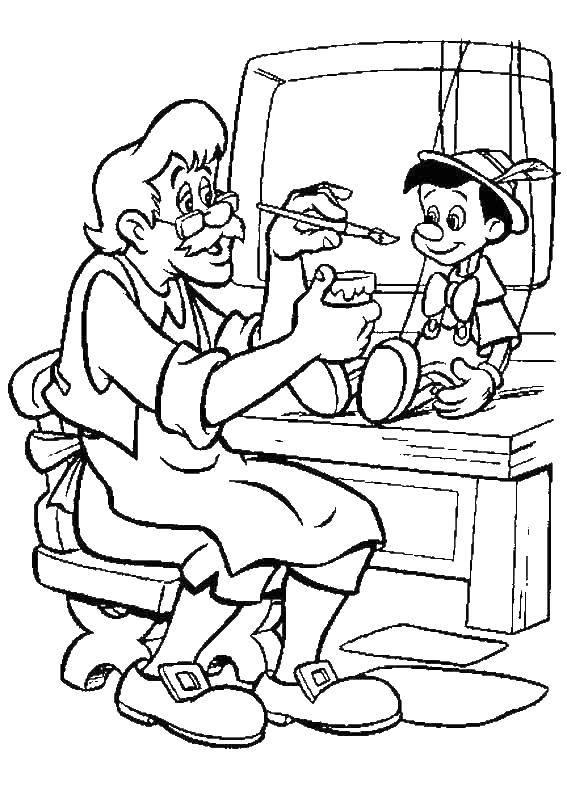 Раскраска Джеппетто создает пиноккио Скачать ,Пиноккио,.  Распечатать