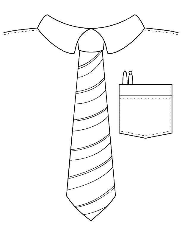 Раскраска Галстук и рубашка Скачать одежда, рубашка, галстук.  Распечатать ,Одежда,