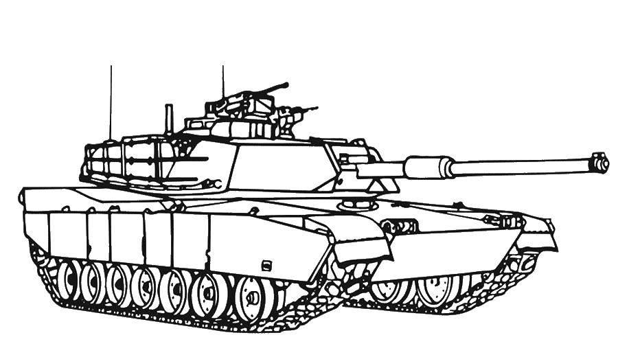 Раскраска Гигантский танк. Скачать Военное, машины, танк, оружие.  Распечатать ,военное,