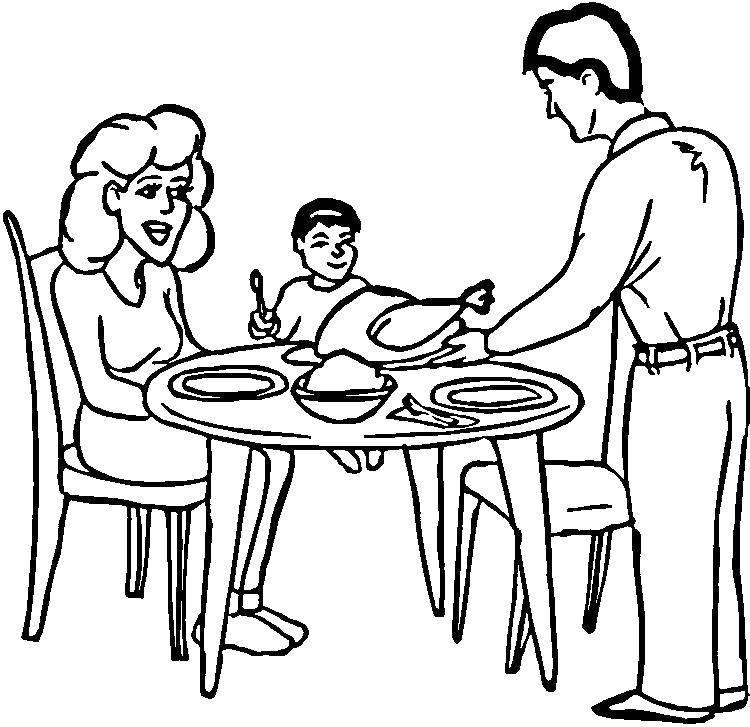 Раскраска Семейный ужин Скачать Семья, родители, дети.  Распечатать ,Члены семьи,