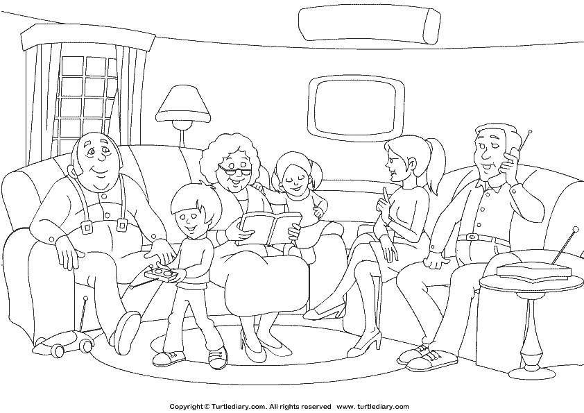 Раскраска Семья дома Скачать ,семья, члены семьи,.  Распечатать