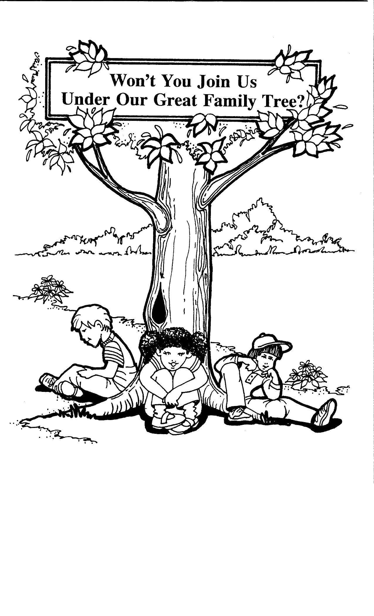 Раскраска Дети сидят под деревом Скачать дерево, дети.  Распечатать ,дерево,