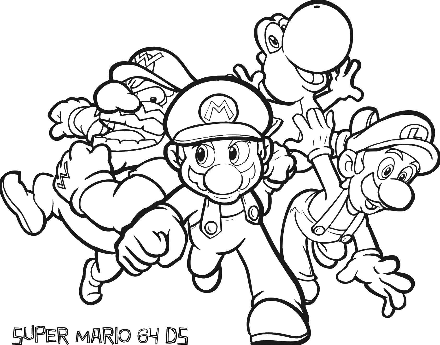 Раскраска Марио, варио и луиджи Скачать Игры, Марио.  Распечатать ,Персонаж из игры,
