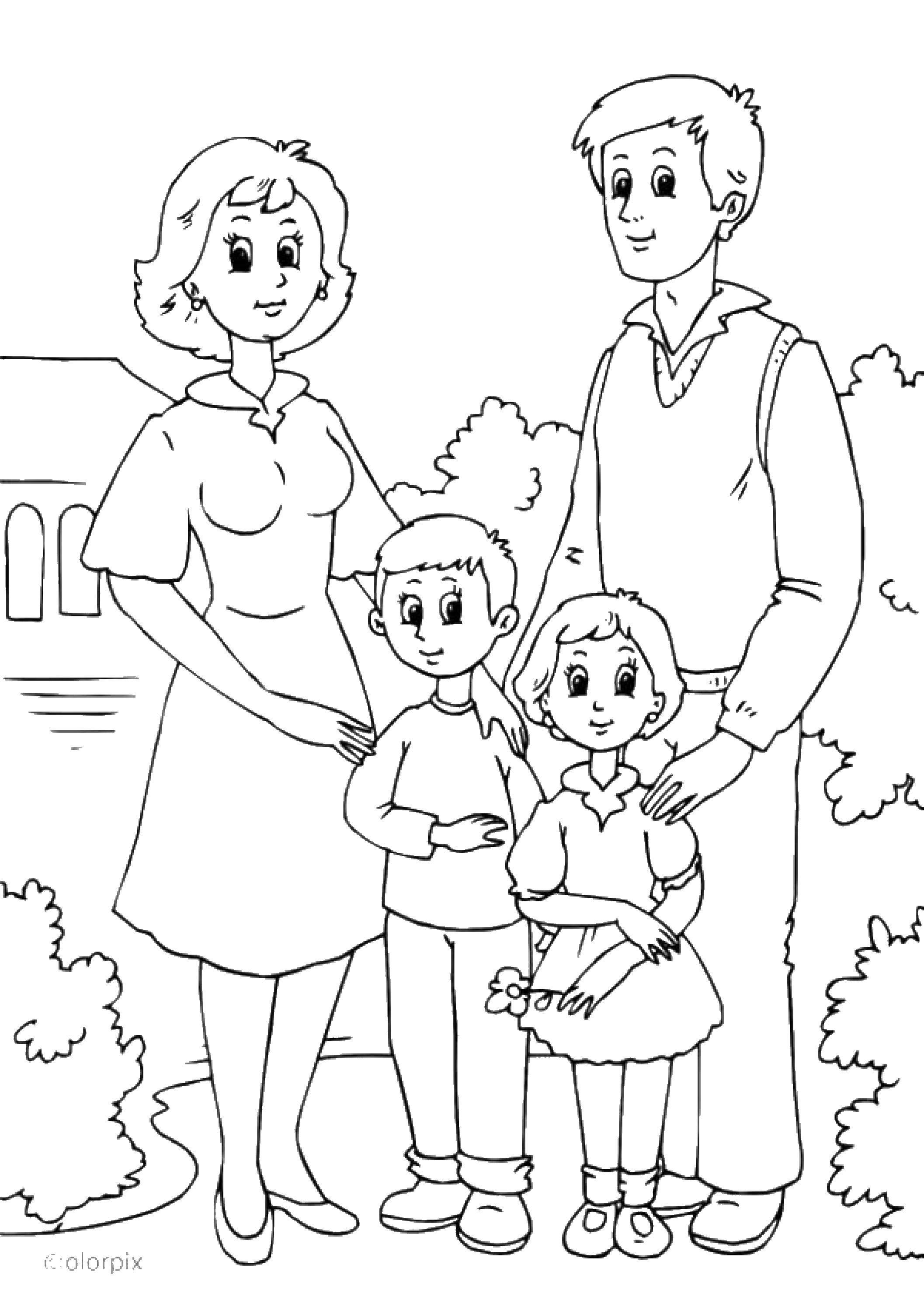 Раскраска Семья Скачать семья, члены семьи.  Распечатать ,Члены семьи,