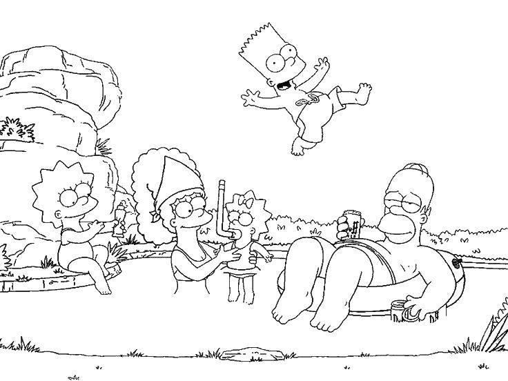 Раскраска Симпсоны Скачать ,мультфильмы, Симпсоны,.  Распечатать