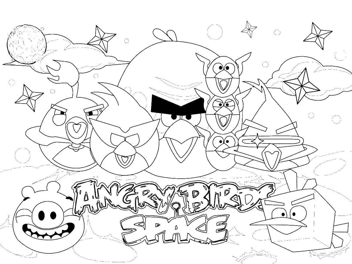 Раскраска Энгри бёрдс в космосе Скачать Игры, Angry Birds .  Распечатать ,angry birds,
