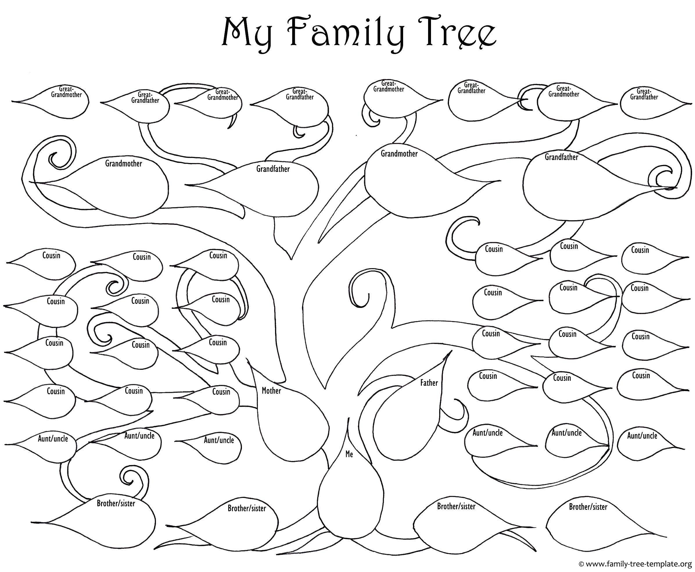 Раскраска Моё семейное древо Скачать Семья, родители, дети.  Распечатать ,Семейное дерево,